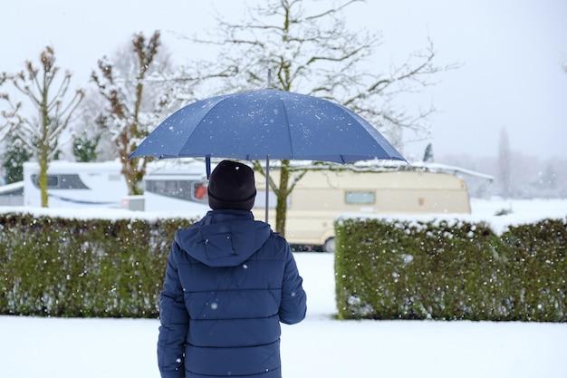 Man on snowy day Premium Photo