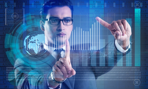 Man in stock trading business concept Premium Photo