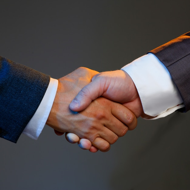 Man in suit shake hand as hello in office closeup Premium Photo