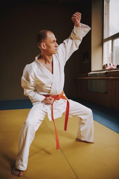 Man teaches techniques of karate strikes in the hall Premium Photo