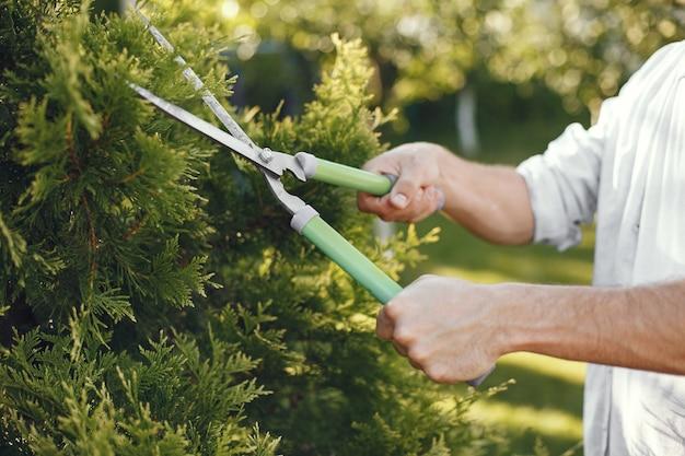 ブラシの枝をトリミングする男。男は裏庭で働いています。 無料写真