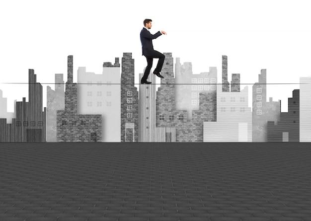 Man walking on tightrope Free Photo