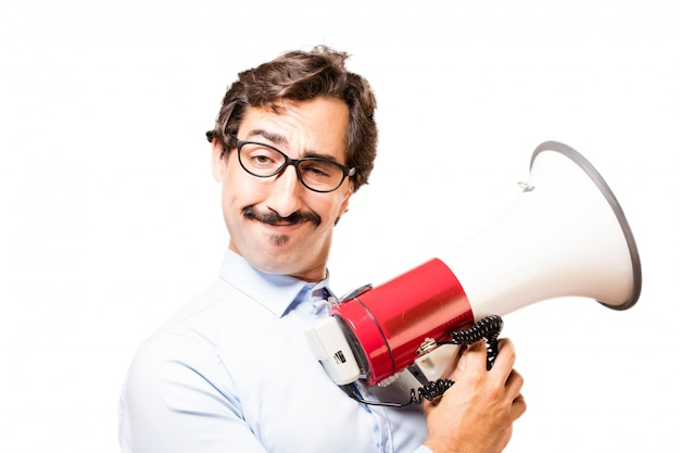 Man with a megaphone Free Photo