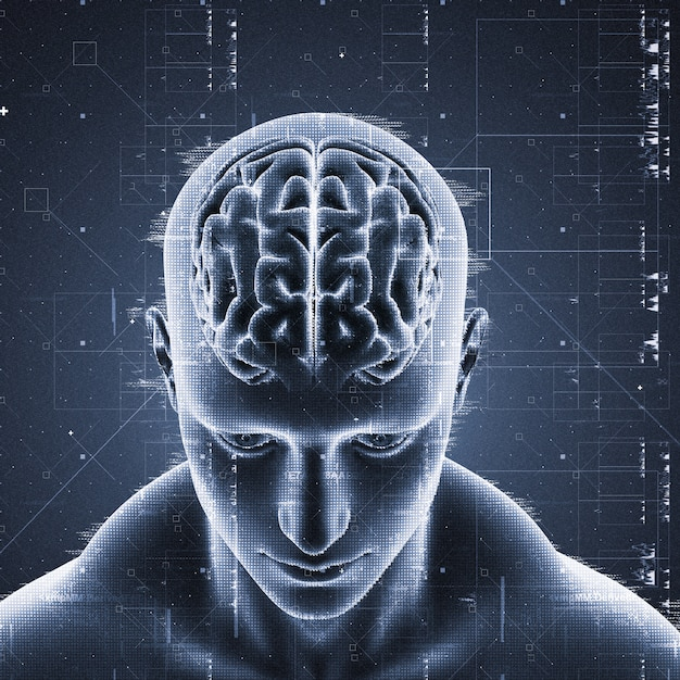Man with brain highlighted Free Photo