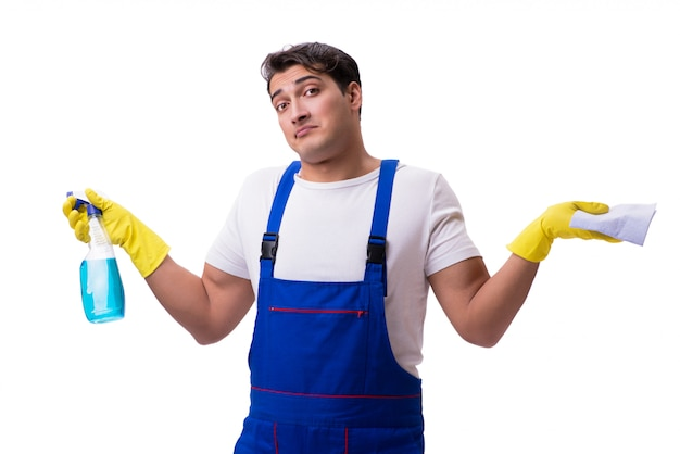 Man with cleaning agents isolated on white Premium Photo
