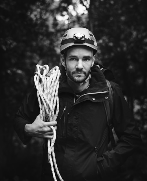 Man with climbing rope Free Photo