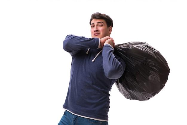 Man with garbage sack isolated Premium Photo