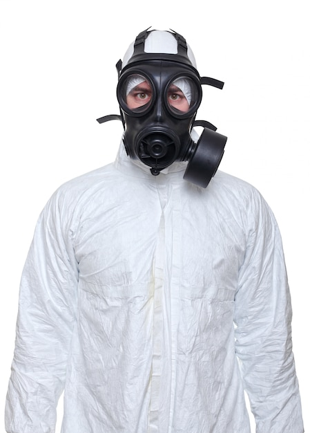 Man with gas mask isolated on white Premium Photo