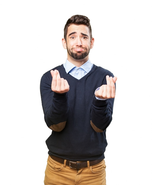 Man with hands raised with the gesture that has no money Free Photo