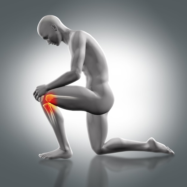 Man with a knee in the floor and pain in the other knee Free Photo