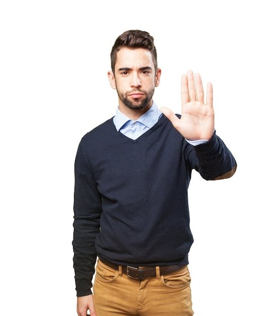 Man with palm up Free Photo