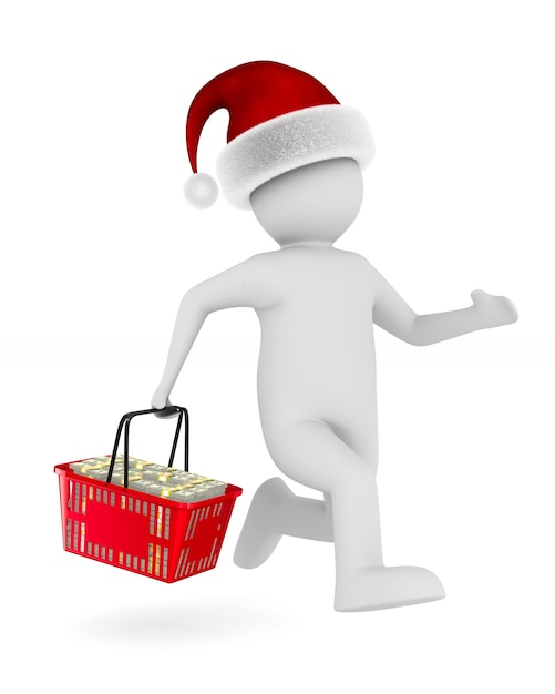 Man with shopping basket on white space. isolated 3d illustration Premium Photo