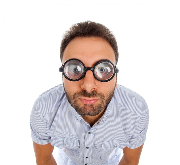Man with a surprised expression and thick glasses Premium Photo