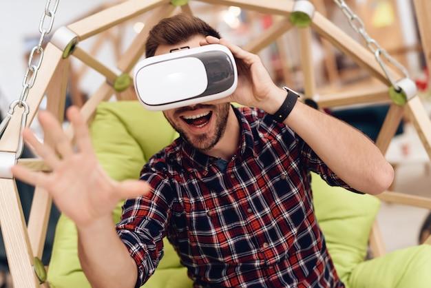 A man with virtual reality glasses. Premium Photo