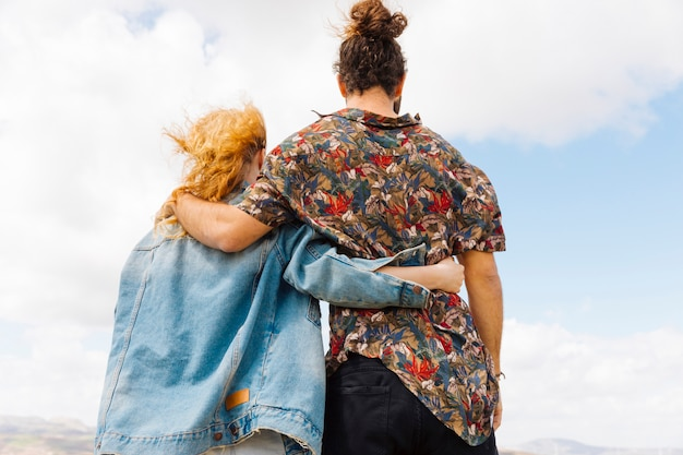 Man and woman locked in embrace Free Photo