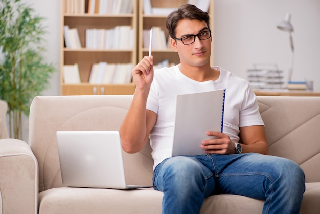 Man working sitting in couch sofa Premium Photo