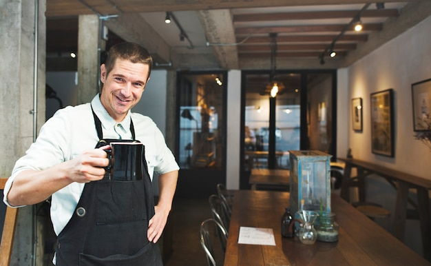 A manager of a coffee shop Premium Photo