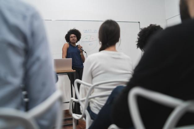 사무실에서 창의적인 디자이너 그룹과 브레인 스토밍 회의를 선도하는 관리자 여자. 리더 및 비즈니스 개념 무료 사진