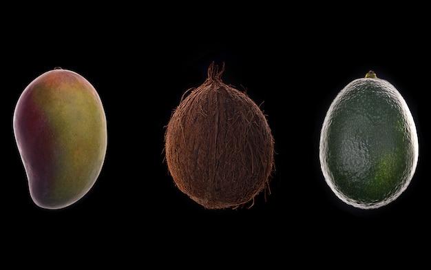 Плоды манго, кокоса и авокадо на черном фоне Бесплатные Фотографии