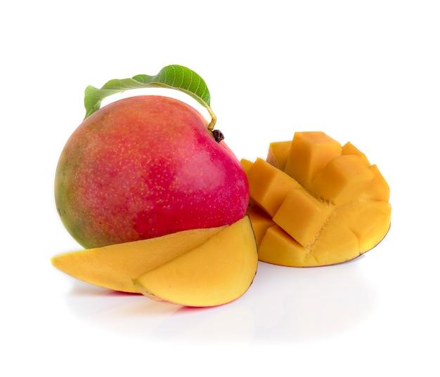 Mango fruit decorated with leaves isolated on white background Premium Photo