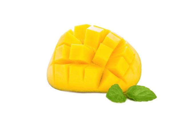 Mango peeled and cut into squares Free Photo