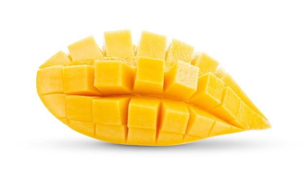 Mango slices on white .full depth of field Premium Photo