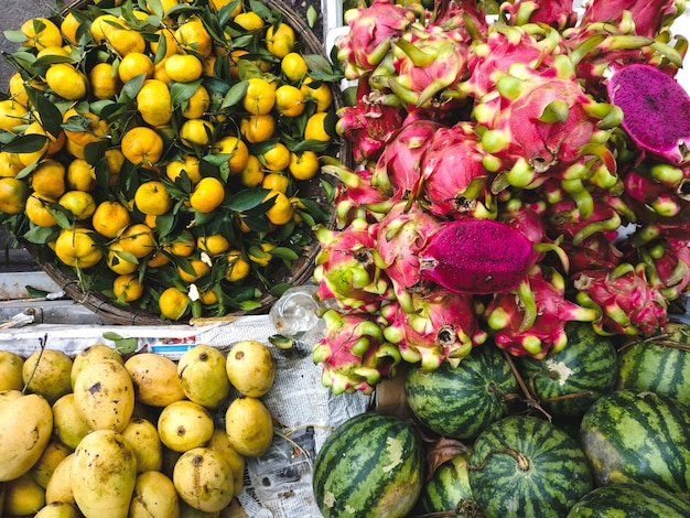Mango, watermelon, tangerines and dragon fruit aerial Free Photo