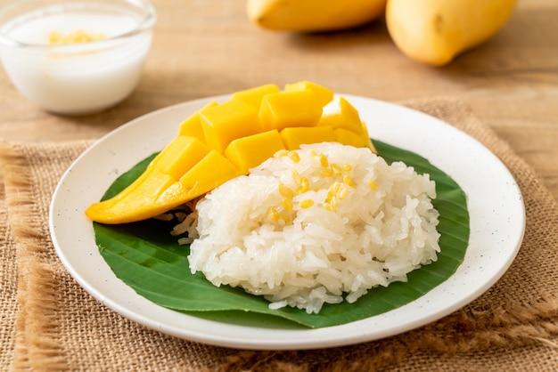 Mango with sticky rice Premium Photo
