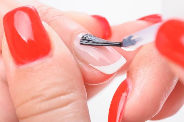 Manicure nail transparent painting Premium Photo