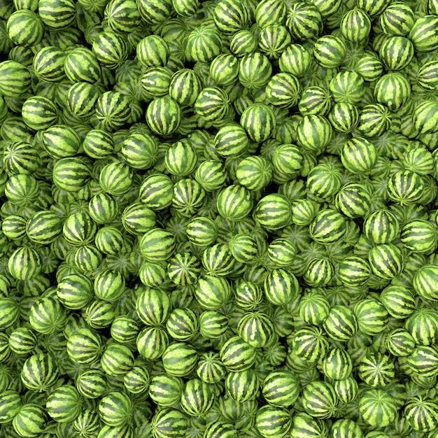 Много больших сладких зеленых арбузов Premium Фотографии