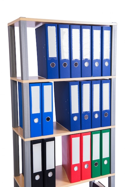 Many binder folders on the shelf Premium Photo