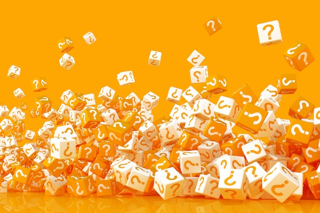 Many crumbling cubes with question marks on the sides 3d rendering Premium Photo
