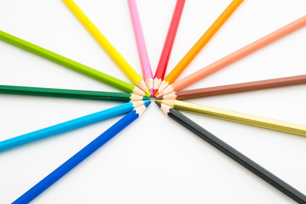 Many different colored pencils on white background Premium Photo