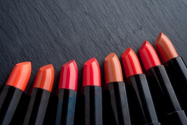 Many different lipsticks, different colors Premium Photo