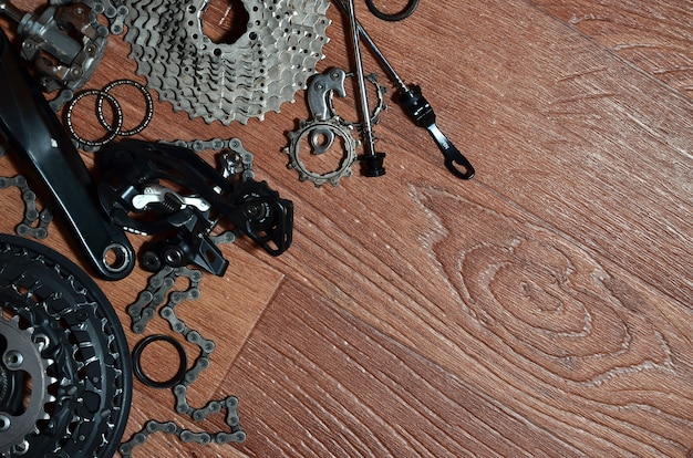 Many different metal parts and components of the running gear of a sports bike Premium Photo