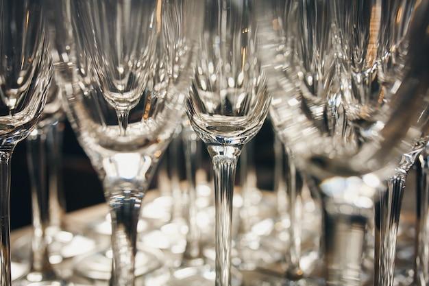 Many empty glasses in a line Premium Photo