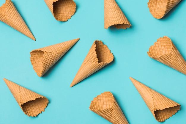 Many empty waffle cones Free Photo
