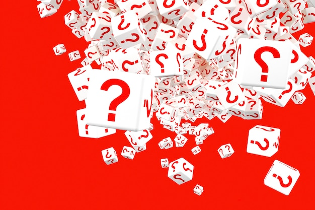 Many falling blocks with question marks. 3d illustration Premium Photo