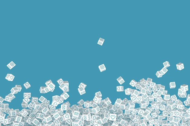 Many of the falling blocks with the social icons on the faces. 3d illustration Premium Photo