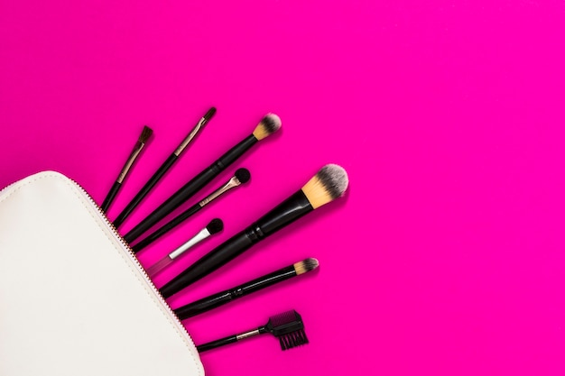 Many makeup brushes out of white bag over the pink backdrop Free Photo