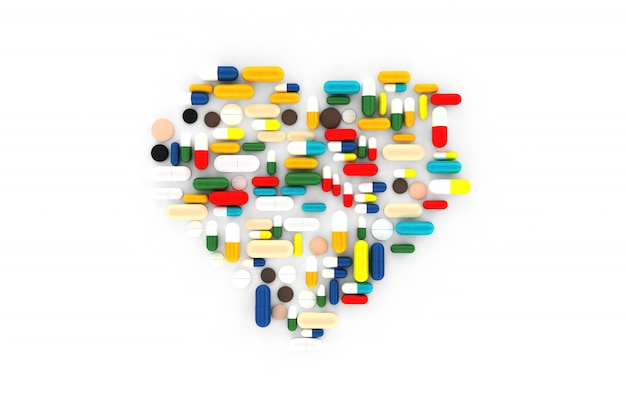 Many pills scattered on the surface in the form of hearts. 3d illustration Premium Photo