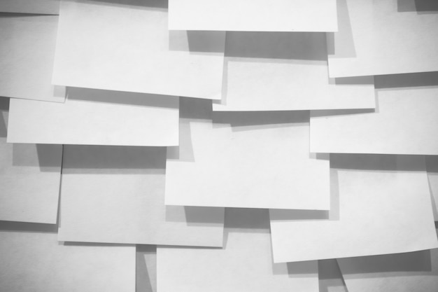 Many post it note and shadows - black and white effect Premium Photo
