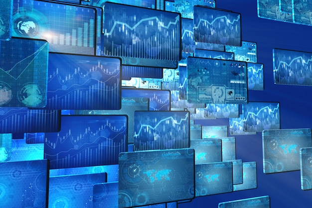 Many screen monitors with charts and graphs Premium Photo