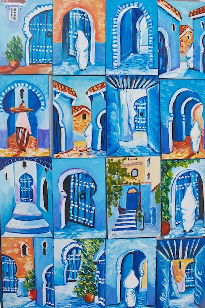 Many souvenirs and gifts in streets of chefchaouen Premium Photo