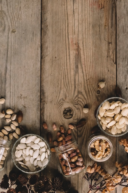 Many types of nuts with space on left Free Photo