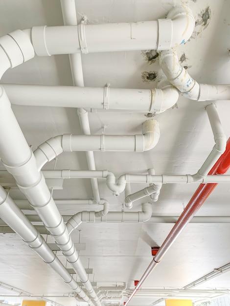 Many water pipe at the condominium Premium Photo