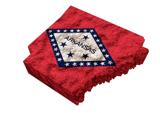 Map of the american state of arkansas, with flag, united states of america Premium Photo