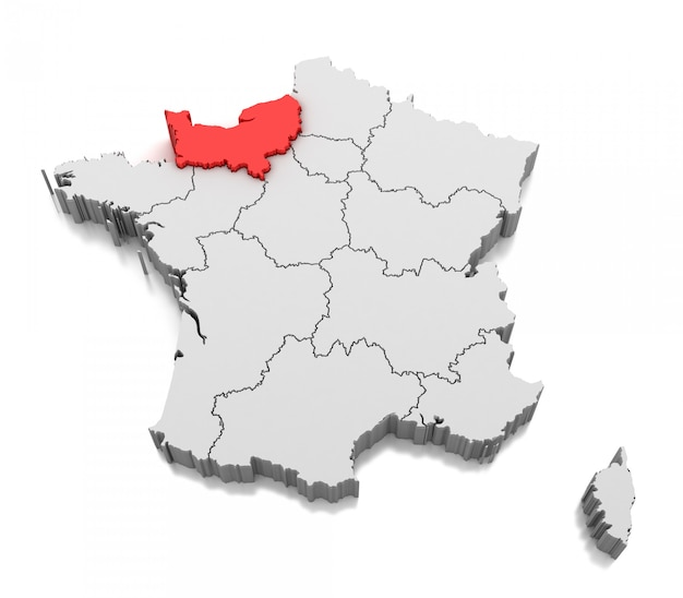 Map Of Normandy Region France Photo Premium Download