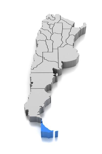 Map of tierra del fuego province, argentina Premium Photo