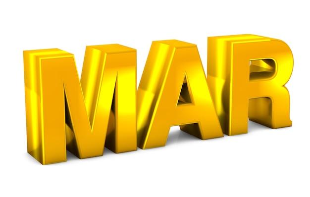 3月のゴールド3dテキスト3月の月の略語は、白い背景の3dレンダリングに分離されました。 Premium写真